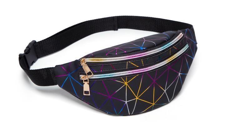 Personalidade Laser da Mulher Sports Multi-camada colorida saco da cintura 2020 New Arrival Diamante Malha Cross-corpo Peito Bag