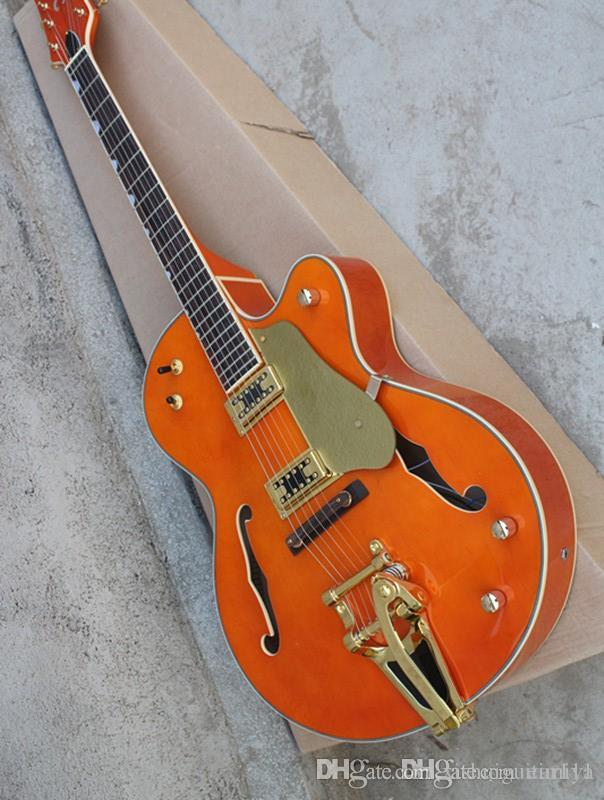 Wholesale factory semi-hollow electric guitar and vibrato system, gold guard, gold hardware, custom offer