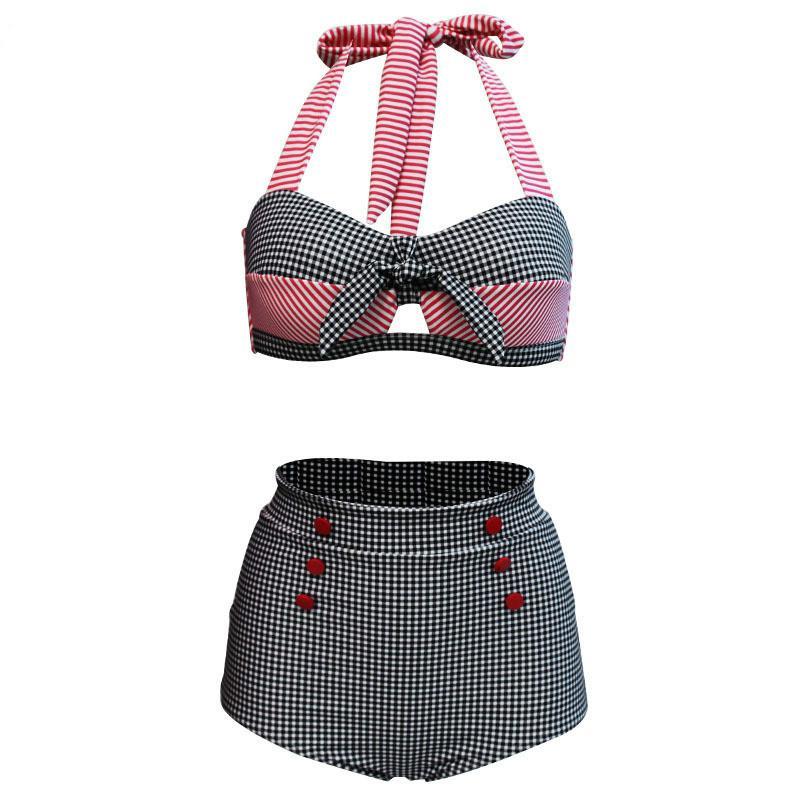 2020 nuevos europeos y americanos de cintura alta Fondo de Bikini retro Comercio Exterior traje de baño de tela escocesa Transfronterizo traje de baño de las mujeres
