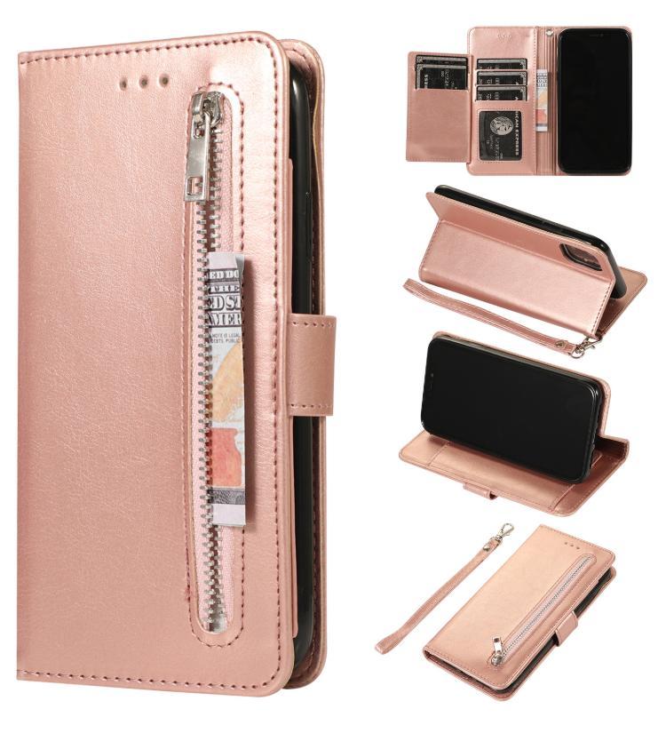 30 pcs Venda Mixed 5 Card Slots Zipper PU Capa de Couro Telefone para iPhone 11 Pro X XR XS Max 6 7 8 e Samsung Nota 8 9 10 Pro S8 S9 S10 Além disso,