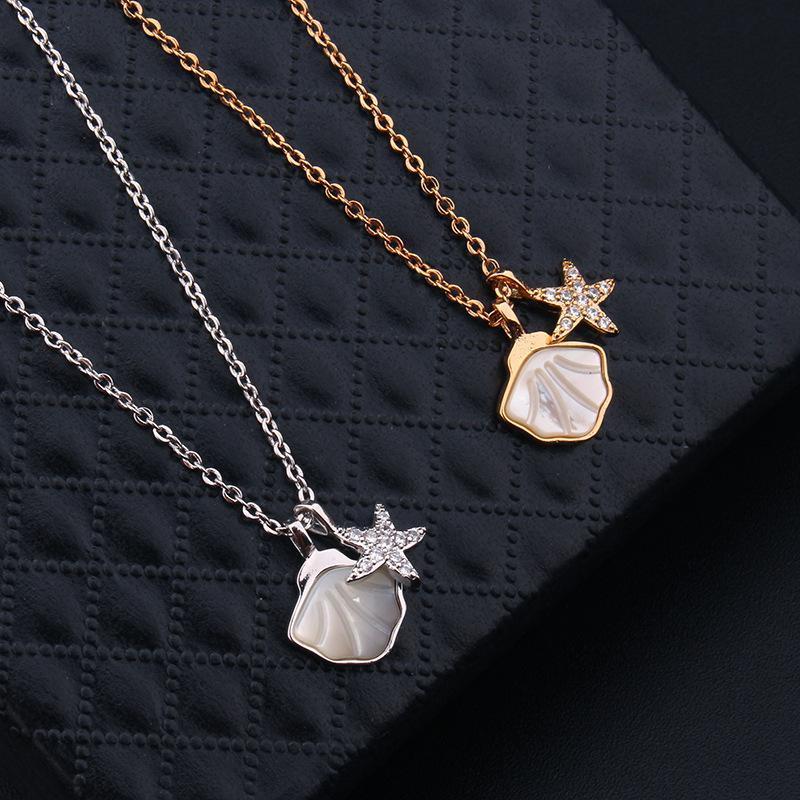 Exquis Fantaisie Bijoux Cuivre Pendentif étoile populaire chaîne Collier pour les femmes d'été Party Accessoires