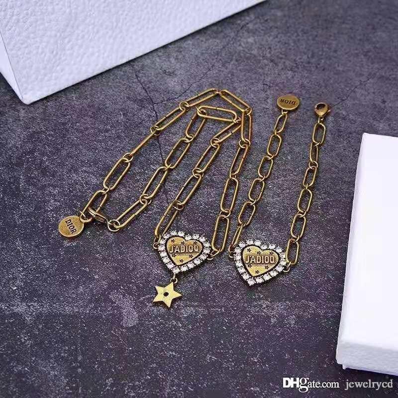 مصمم المجوهرات رسائل حب الماس نجم مصمم سلسلة قلادة فاخر مصمم المجوهرات النسائية أساور