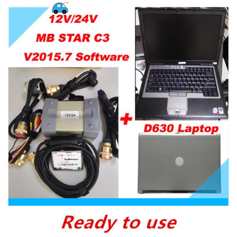 Idéal pour Mercede Ben Diagnostic MB Star C3 12V / 24V Multiplexeur Scanner Tool + XD-ENTRÉE Software + HDD de-ll D630 Laptop Livraison