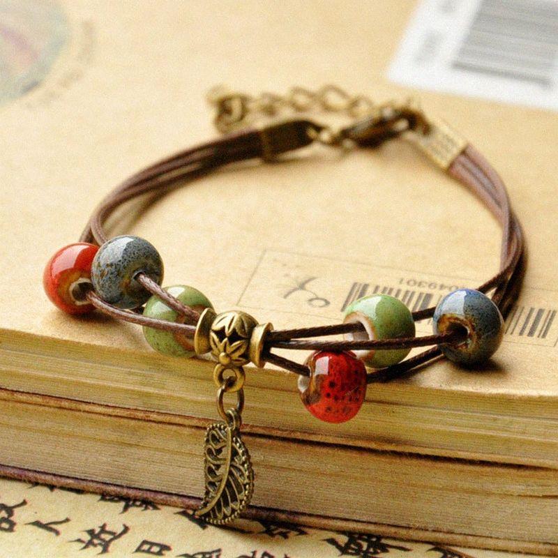 Vintage style ethnique Fleur Glaze Pendentif Feuille céramique Bracelet perles mode personnalité Fille étudiant Accessoires Bijoux MFDB #