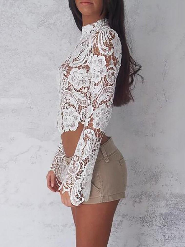 Elegante Turtleneck-weiße Spitze Blusen durchschauen Sexy Langarm Crochet Short Blusen-Frauen-Art und Weise übersteigt Blumen-Damen-Hemd