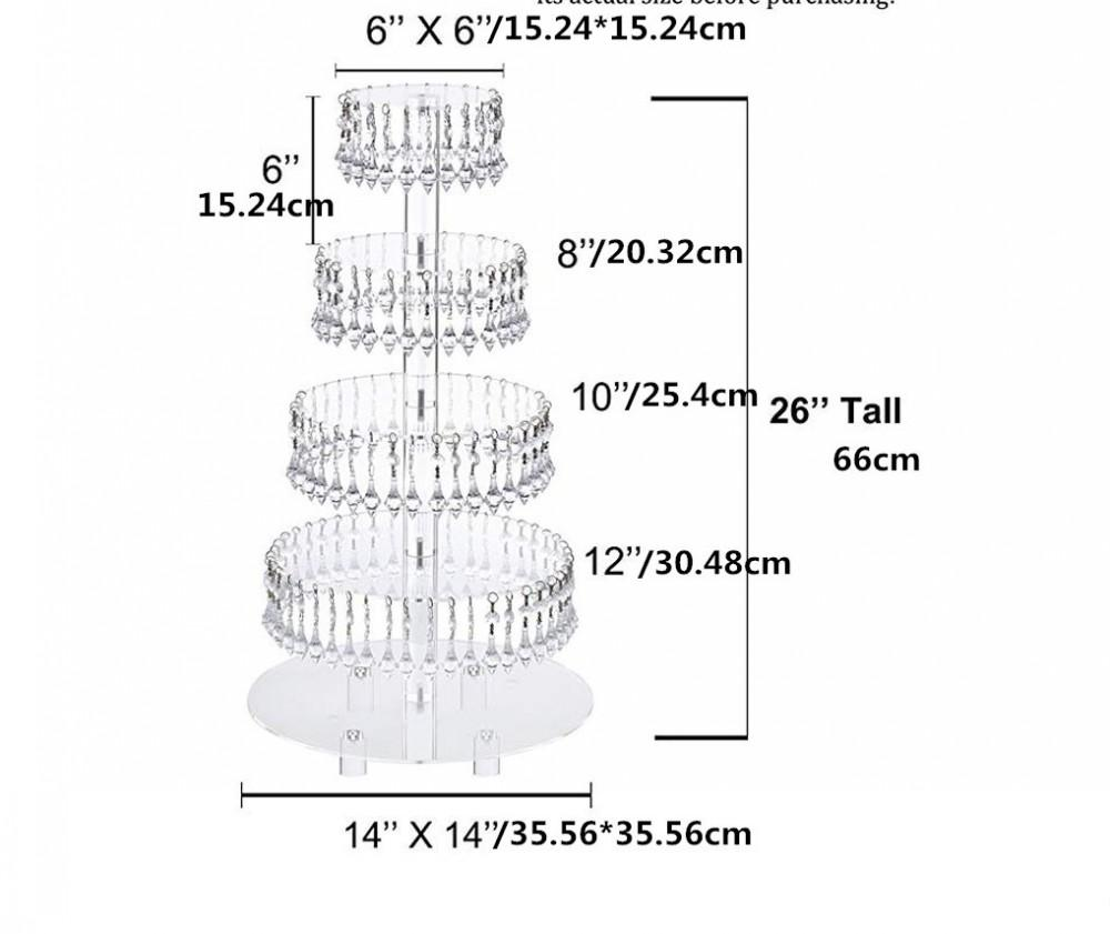 5 Tiers transparent round crystal acrylic Cake Stand cake display cupcake holder with bead strands wedding table centerpieces
