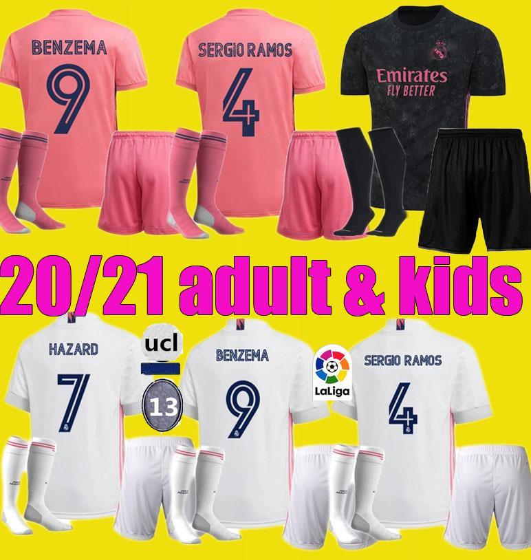 남자 아이 (19 개) (20) (21) 레알 마드리드 축구 유니폼 키트 2020 2021 세르히오 라모스 위험 JOVIC 비니 벤제마 모드리치 축구 셔츠 아이 유니폼
