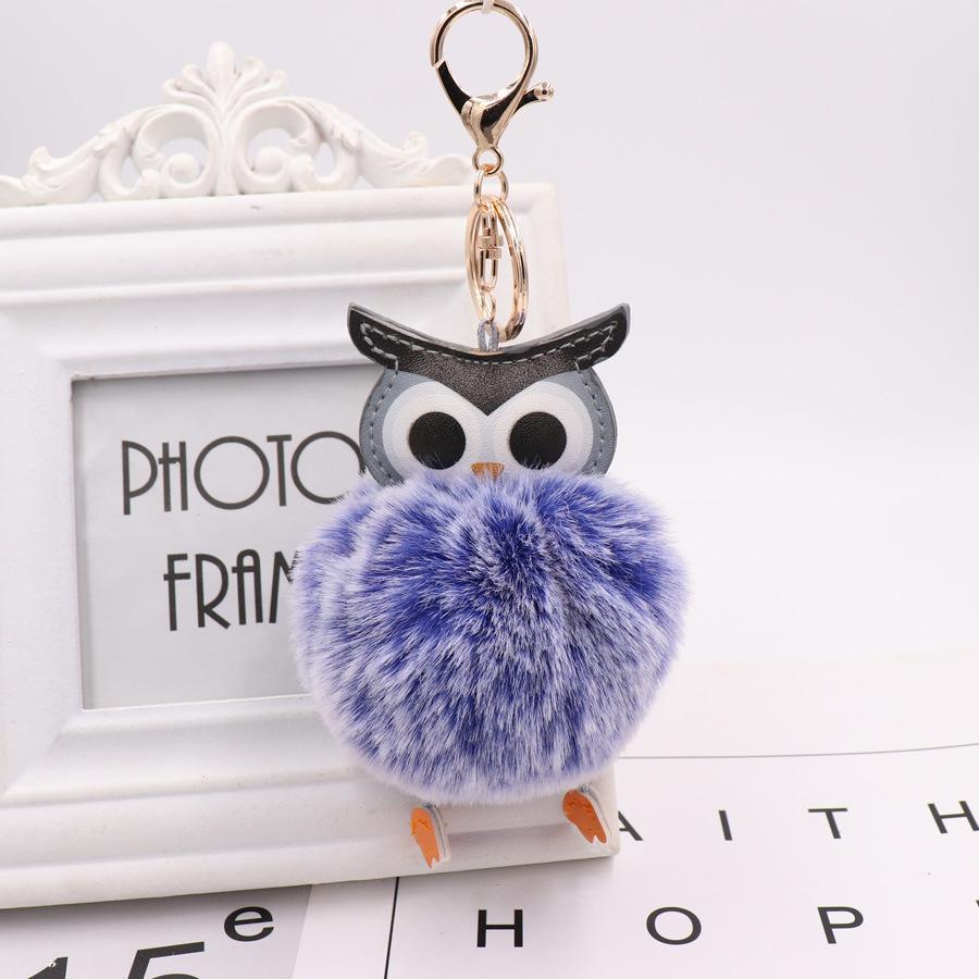 Симпатичные Pompom Сова брелок Брелок Кролик Fur Ball помпон Porte Клеф Пушистый Leather Key Ring аксессуары ювелирные изделия 2020 Новый