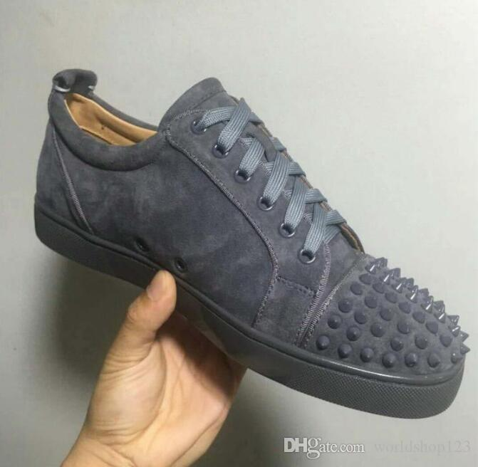 2019 Grey Suede Studded Men Shoes Red