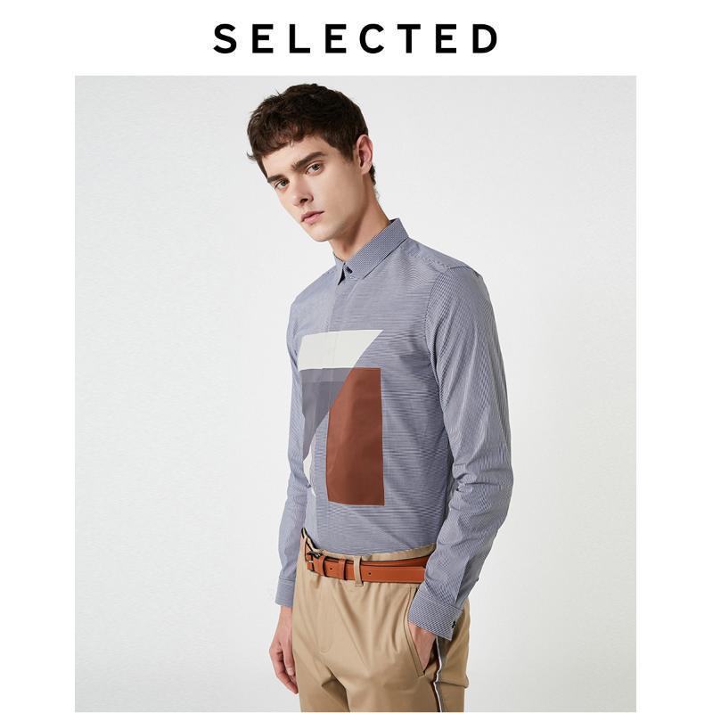 Männer Slim Fit Striped Geometrische Casual Langarm-Shirt S | 419305533