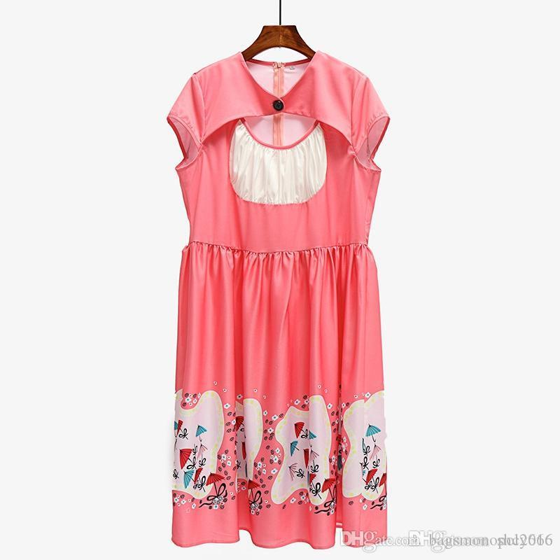 Women dress Round neck Pleated Short sleeve skirt fat BALL gown Sexy Hollow Out Lady Loose Waist Casual Dresses Large Plus Size XL-5XL D3