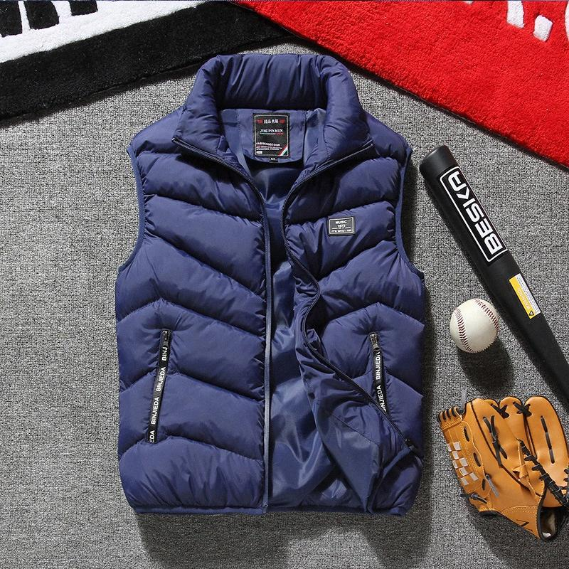 Mens Winter Vest Plus Size 7XL 8XL Fashion Casual Thick Warm Cotton-padded Coats Vest Stand Sleeveless Jacket Autumn Chaleco PEMg#