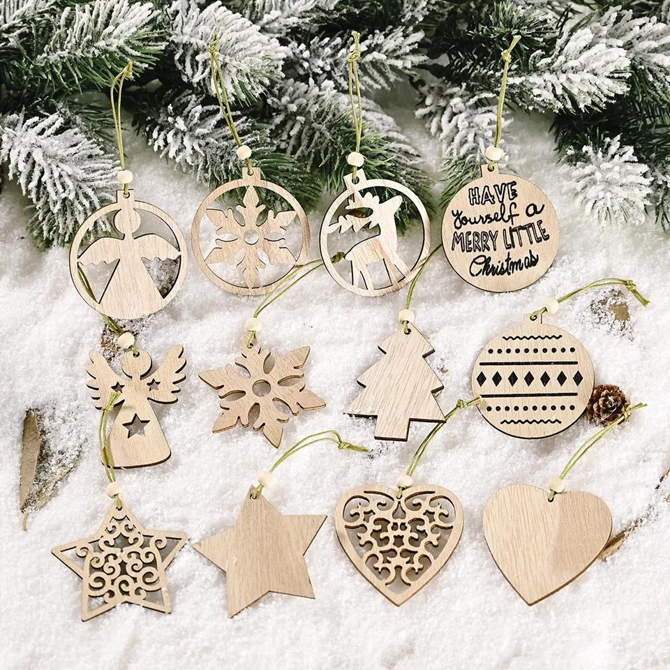 Рождественская елка орнамент DIY деревянные подвески украшения Xmas снежинки звезда висит украшения дома Новости Год вечеринки поставки YFA2300