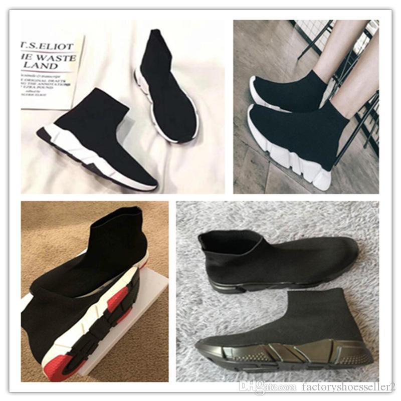 2019Luxury calcetín Zapatos Negro Blanco Zapatos de cada Hombres Mujeres Oero Negro Formadores Mujeres Botas zapatillas de deporte zapatos de diseño 36-47