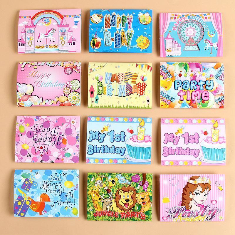 Carta di compleanno Invitation Card Flamingo Unicorn ragazzo della ragazza del fumetto Corona Felice Partito Biglietti d'auguri per il capretto Greet regali modo 0 15by ZZ