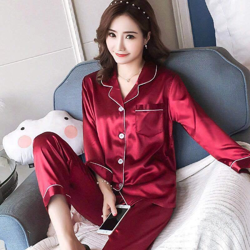 Mulheres Pajama Define cetim de seda Pijama Turn-Down Collar Pijamas Lady Long Sleeve Primavera Roupa de Noite Femme 2 Pieces Define Homewear
