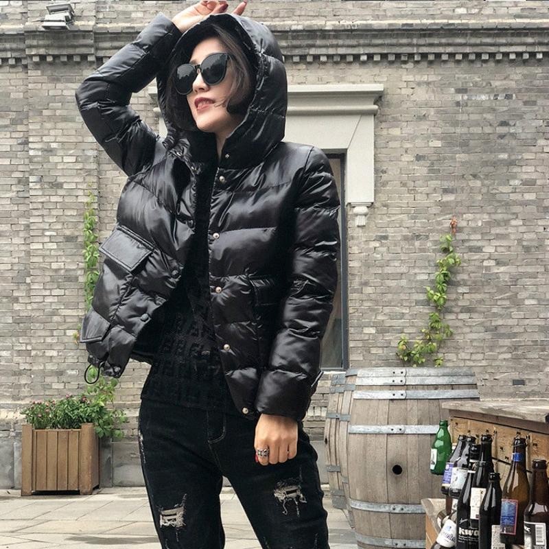 Jacket Outono Inverno Brasão Mulheres Parkas Mulher com capuz coreano Estilo Womens vestuário casacos e jaquetas Feminino Parka Femme WPY733 oXVT #