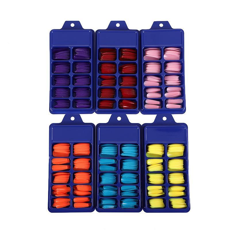 100 teile / satz Drücken Sie auf falschen Nägeln extra lange Stiletto spitzer UV-Gelkleber auf gefälschten Fingernails