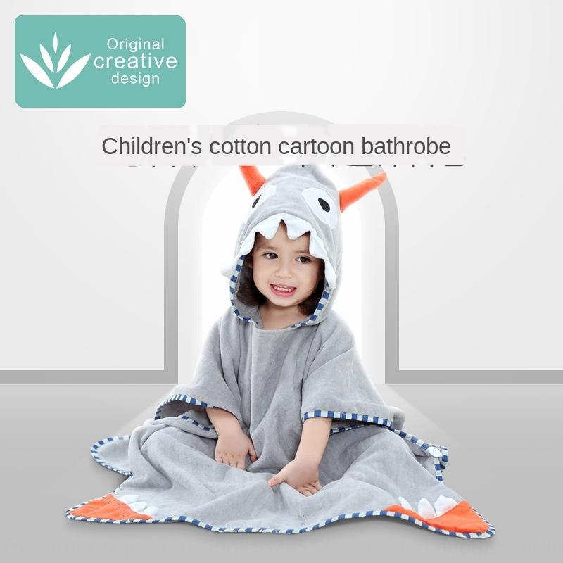 Cartoon animal children's Pullover bath Beach bath bathrobe cloak cloak towel pure cotton soft hat Baby Beach Towel Pullover bathrobe