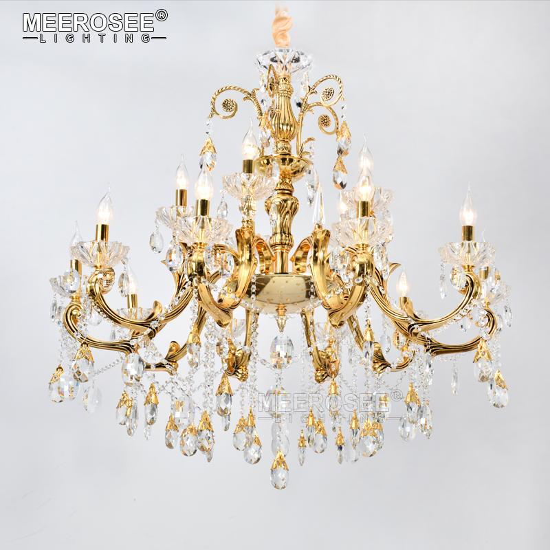 Новое прибытие Большой Фойе Современные люстры Свет свечи Кристалл K9 Золотой кулон лампа Крепеж Подвеска висячие лампы 15 Кронштейны для жизни