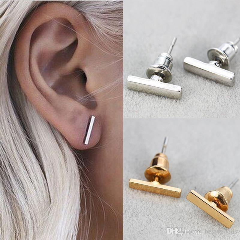 2016 Art und Weise Vergoldete Versilberte Schwarz Punk einfacher T Bar-Ohrringe für Frauen Ohrstecker Linie Ohrringe edlen Schmuck Minimalist Ohrringe