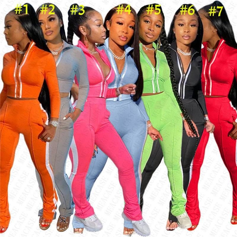 Riflettente Stripe Donne Tuta Designer Zipper Giacche Tops + ghette Due Pezzi Imposta Patchwork Outfits sportivo D72712