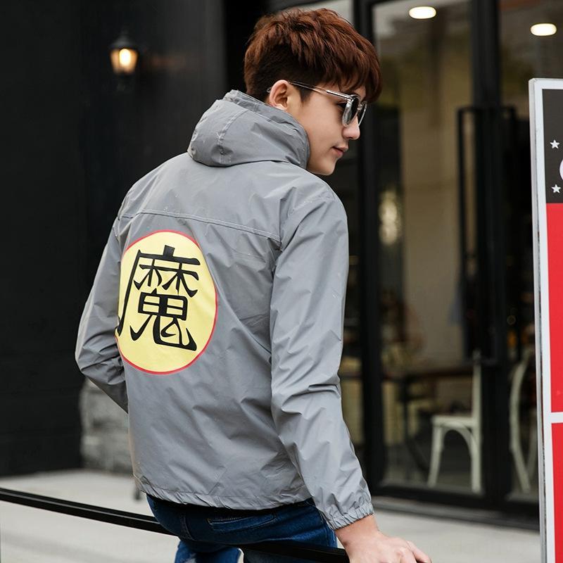 4QEkj Automne vruoC style coréen lumineux et deux coupe-vent hommes manteau coupe-vent de charge vêtements windbreakerreflective étudiant femmes