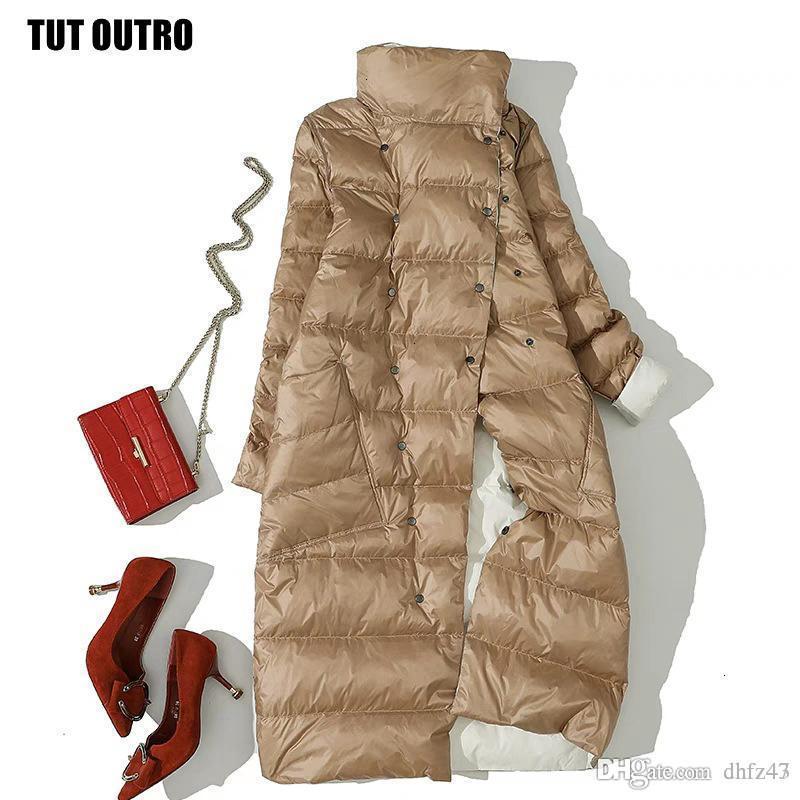 Winter White Duck Down Jackets Padded Double Wear Down Coat Women Fashion Elegant Double-breasted Long Parka Coat Female U545MX190924