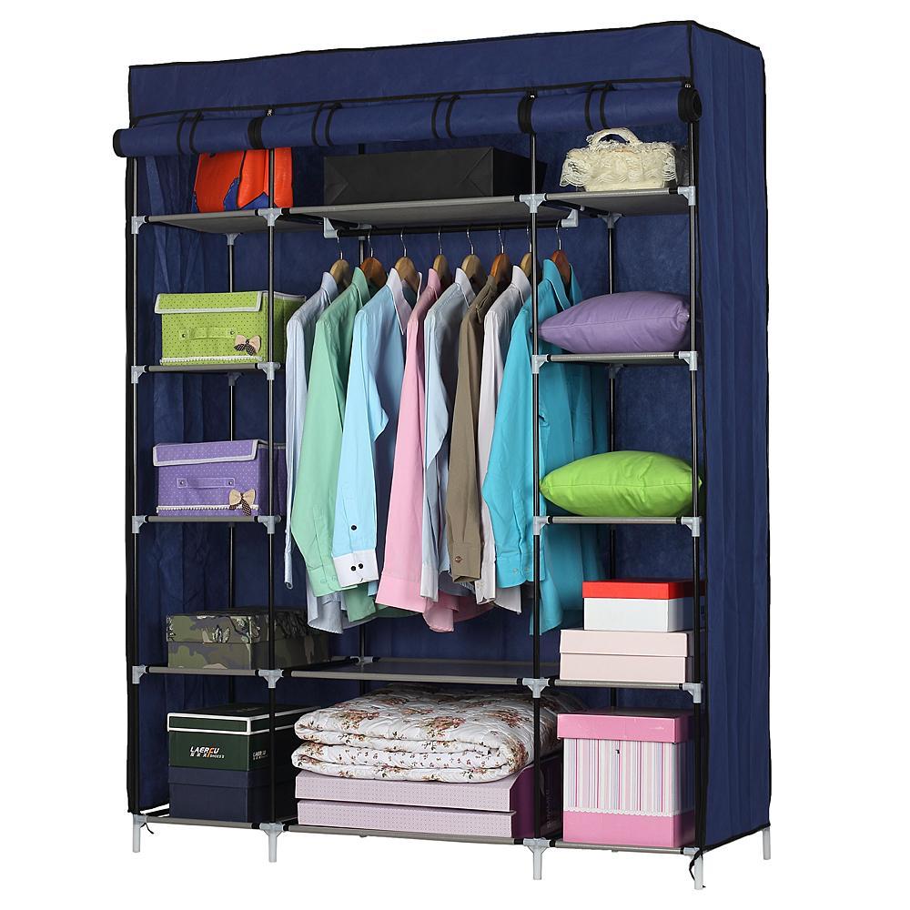 Hot fai da te assemblato 5 strati 12 Compartimento non tessuto armadio Home Abbigliamento rack di stoccaggio Navy Blue