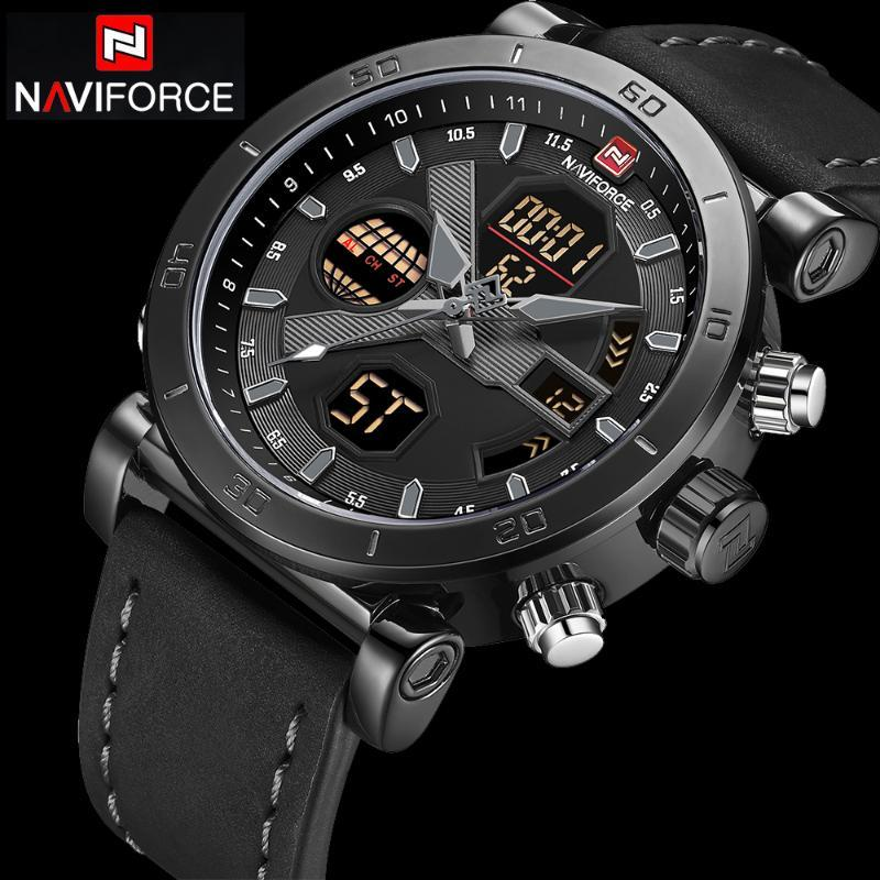 NAVIFORCE hombres relojes deportivos banda de cuero impermeable digital analógico reloj para hombre del cronógrafo de cuarzo reloj de pulsera Relogio Masculino