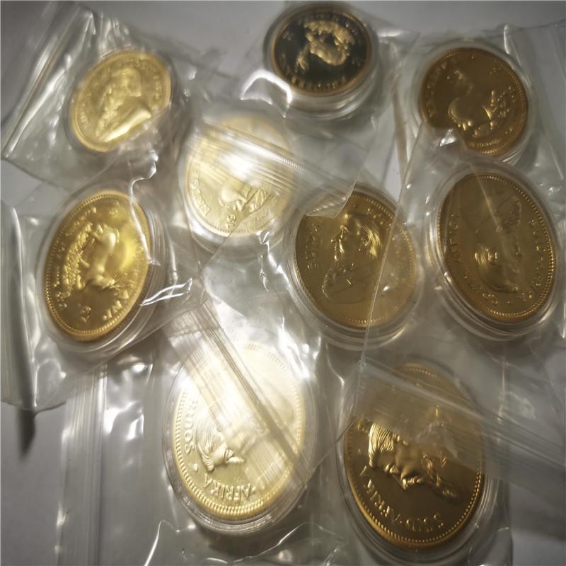 Südafrika Krugrand Münze Einzelhandel Verkauf 2 teile / los Freies Verschiffen 24 Karat Gold Getreide Souvenir Münze 40 * 3mm Metall Sammlung Geschenk