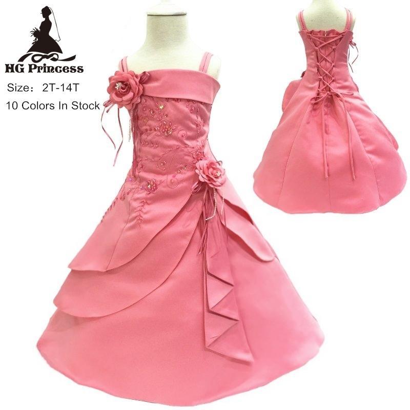 Freies Verschiffen 2T-14T-Mädchen-Partei-Kleid-Stickerei-Satin-wulstige korallenrote Blumen-Mädchen-Kleider für Hochzeiten Big Size Kids Abendkleider T200709