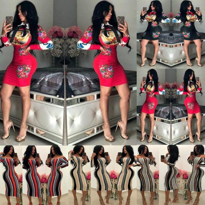 Mulheres Sexy Vestido estiramento Partido Vestidos Floral Imprimir magros Bata o desgaste lindo Vestidos BODYCON Vestidos 2020 para Atacado novo 20 Styles
