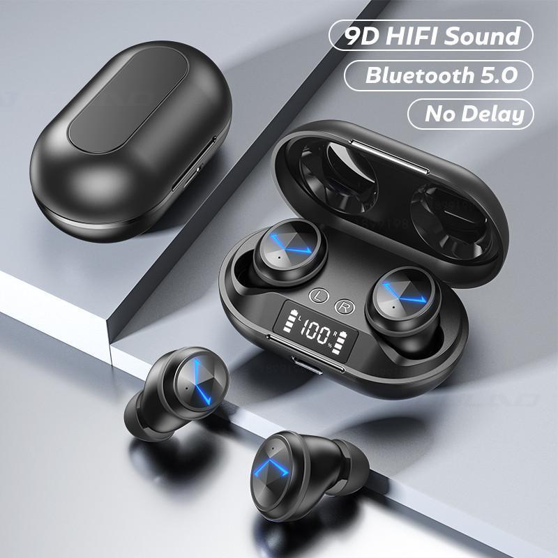 TWS Bluetooth para auriculares inalámbricos estéreo 9D Deportes Bluetooth V5.0 Auriculares Auriculares de LED a prueba de agua Auriculares con micrófono dual