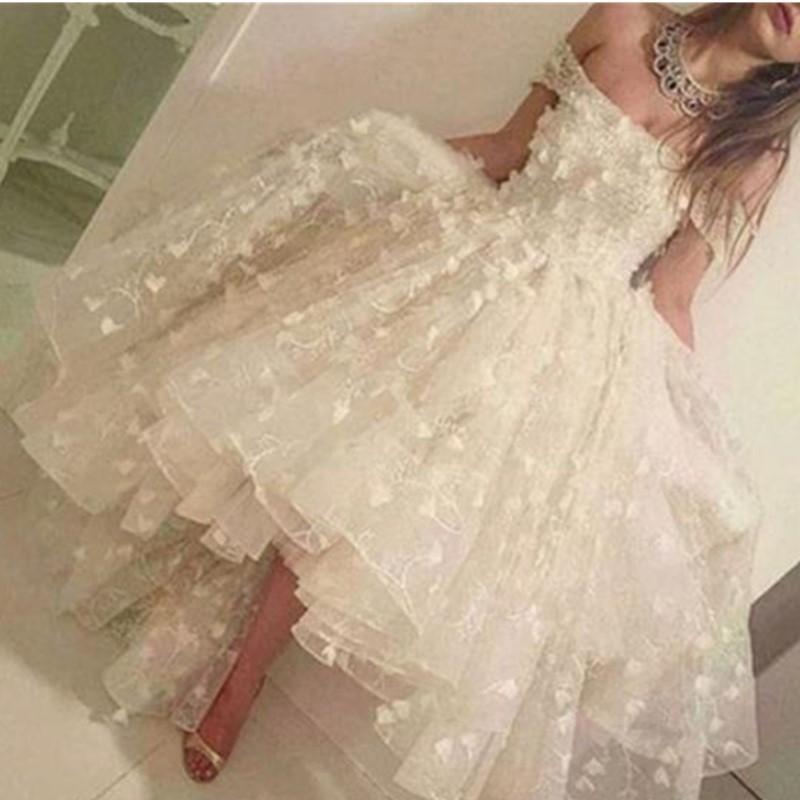 Blanc d'Ivoire Appliqued Retrouvailles robes Une ligne de l'épaule Backless Parti perlage Robe courte pour Prom abiti da ballo Custom Made