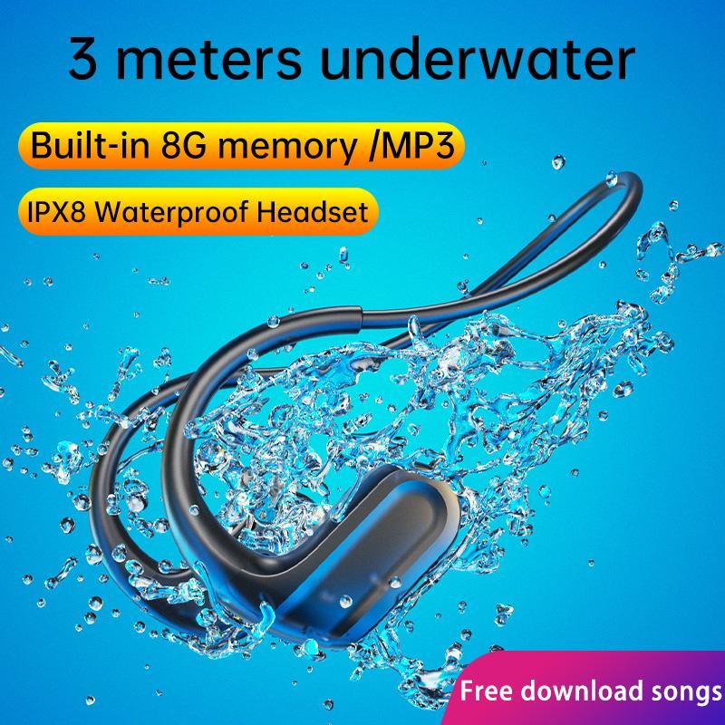 DDJ Bluetooth Headphones For Xiaomi Iphone Earphone IPX8 Waterproof Swimming Headset MP3 Player Sport 8G Memory Diving For vivo