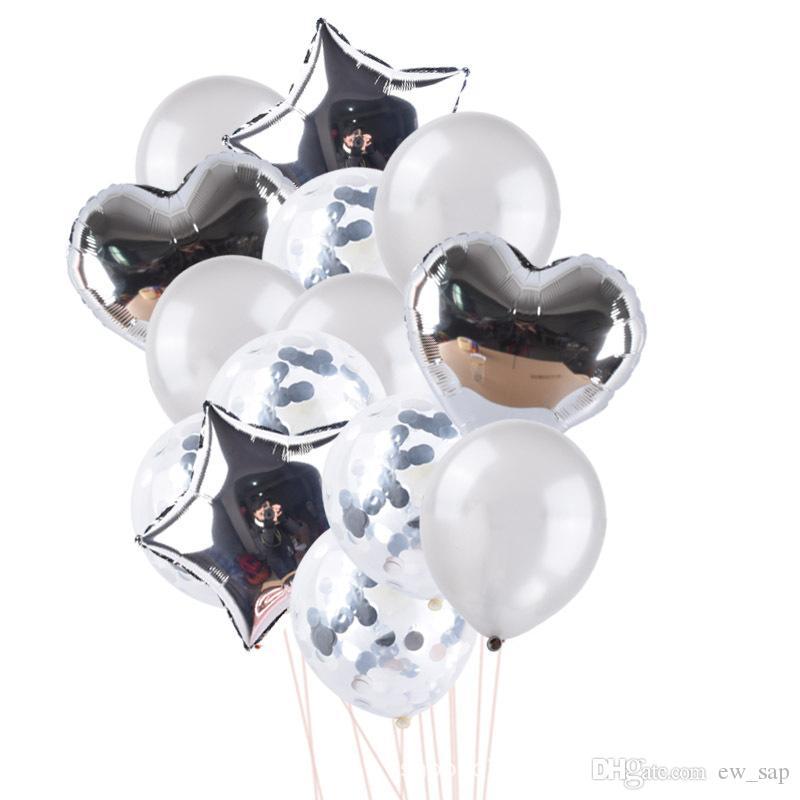 Tüm satış 25pcs Rose Gold Doğum Harf Yıldız Pullarda Lateks Balon Seti Doğum Günü Partisi Dekorasyon Malzemeleri