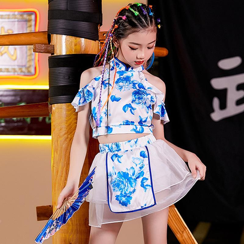 Menina de Jazz Dança Traje Hip Hop Roupa Dança da rua Wear chinês Estilo Azul Impresso Off-The-Ombro Top saia tutu DNV13431