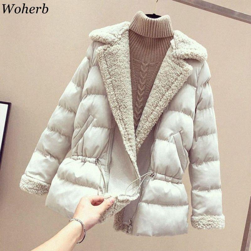 Woherb Kadınlar Lambswool wadded Ceketler 2019 Kış Gevşek Şık Kabanlar yastıklı Coat Sıcak Parka Kadın Katı Ceket 23403 584E #