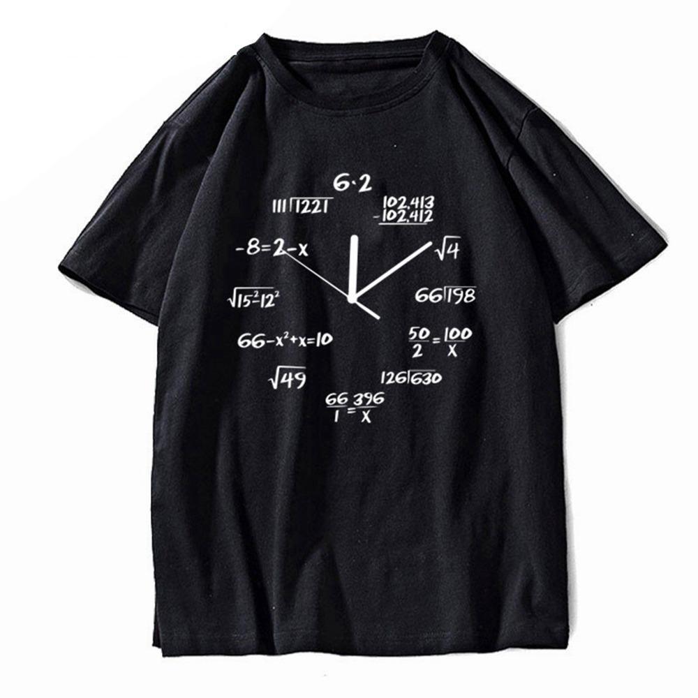 Чистая Новое прибытие Math Colock Graphic Мужчины Футболка Camisetas Комиксы Мужчины T-Shirt Крупногабаритные Tshirt Мужские рубашки тройника с коротким рукавом