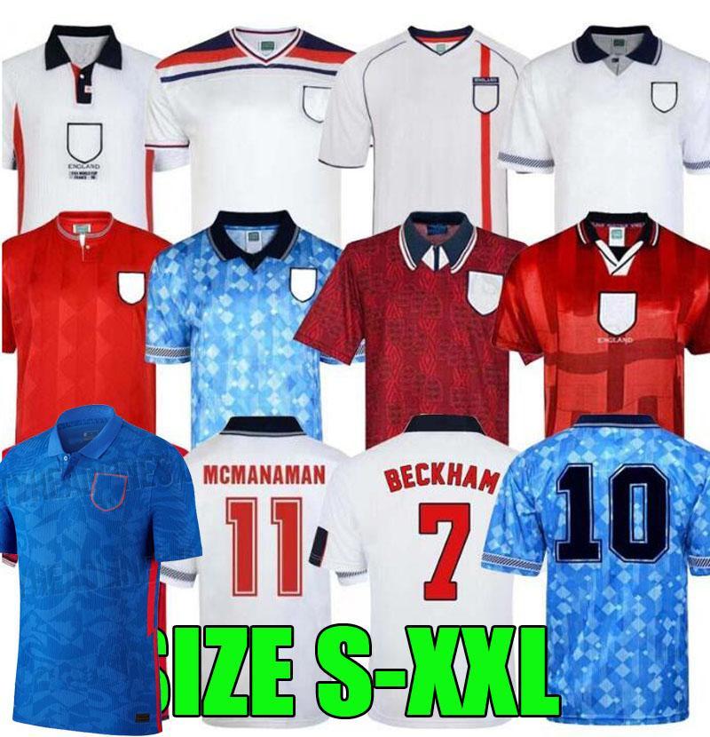 England Retro Jersey 1982 1994 1998 2002 Shearer Beckham Jersey 1990 1989 Chemise de football Gerrard Scholes Owen 1980 Heskey