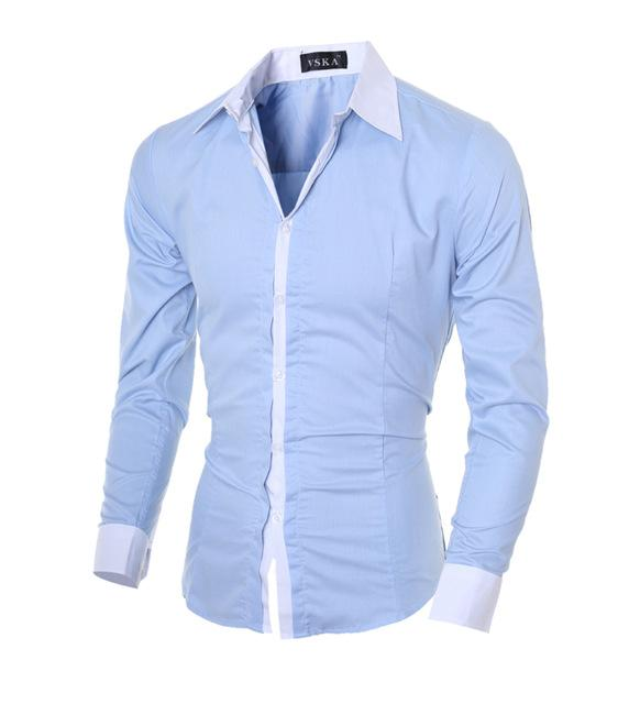 Hommes Chemise à manches longues Marque 2020 hommes en forme mince chemise habillée solide blanc hommes hawaïennes chemises hommes formels XXL, G7453