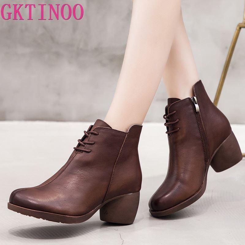 GKTINOO New alta qualidade Mulheres Botas Handmade couro genuíno Mulher Botas Rodada Toe Lace Up Sapatos femininos de calçado