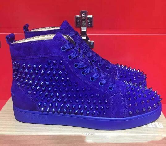 Haute qualité chaussures plates Chaussures de sport en verre rouge Bas Suede cloutés High Cut Hommes Skate Suede Spikes gros 35-46