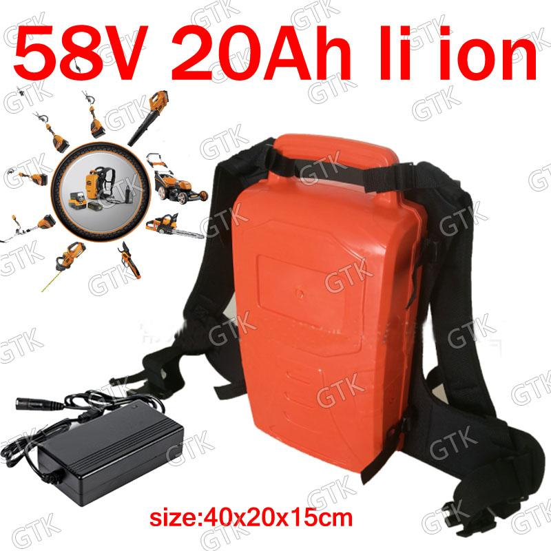 GTK Portable 58V 20Ah batterie au lithium-ion 60V 20Ah li pour tondeuse à gazon Chainsaw jardin sèche-cheveux étrille chargeur + 3A Élagage