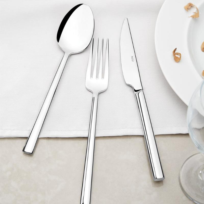 Set 36 Piezas Mangos de acero inoxidable clásico occidental vajilla vajilla Cuchillo Tenedor restaurante de alta cocina Nehir Dalyan Lunchbox
