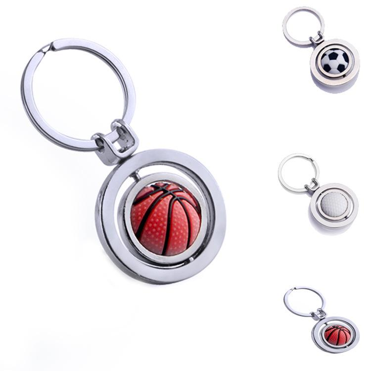 معدن الرجال سلسلة المفاتيح قلادة تدوير جولف كرة السلة كرة القدم مفتاح السيارة الدائري سلسلة حامل مجوهرات ps1128