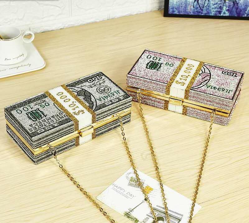 Neues Kristallgeld USD Taschen Dollar Design-Luxus-Diamant-Abend-Beutel-Partei-Geldbeutel-Handtaschen-Hochzeit Abendessen Geldbeutel und Handtaschen