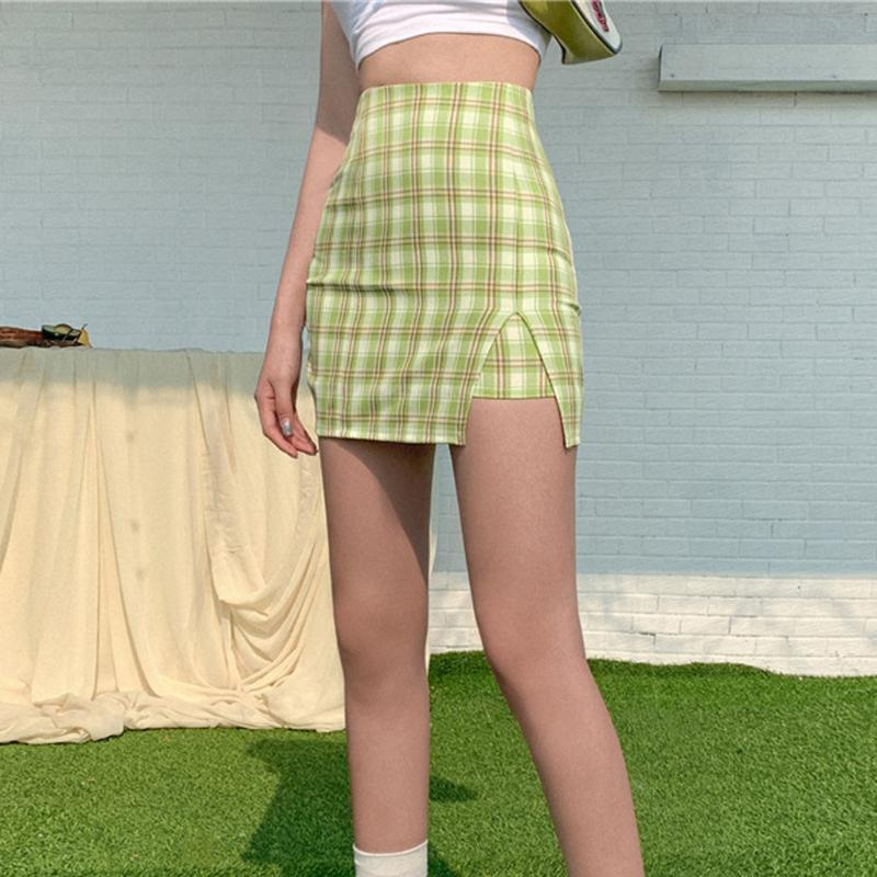 Summer Skirt Harajuku Short Skirt New Korean Plaid Women High Waist School Girl Pleated Plaid Sexy Mini L*5
