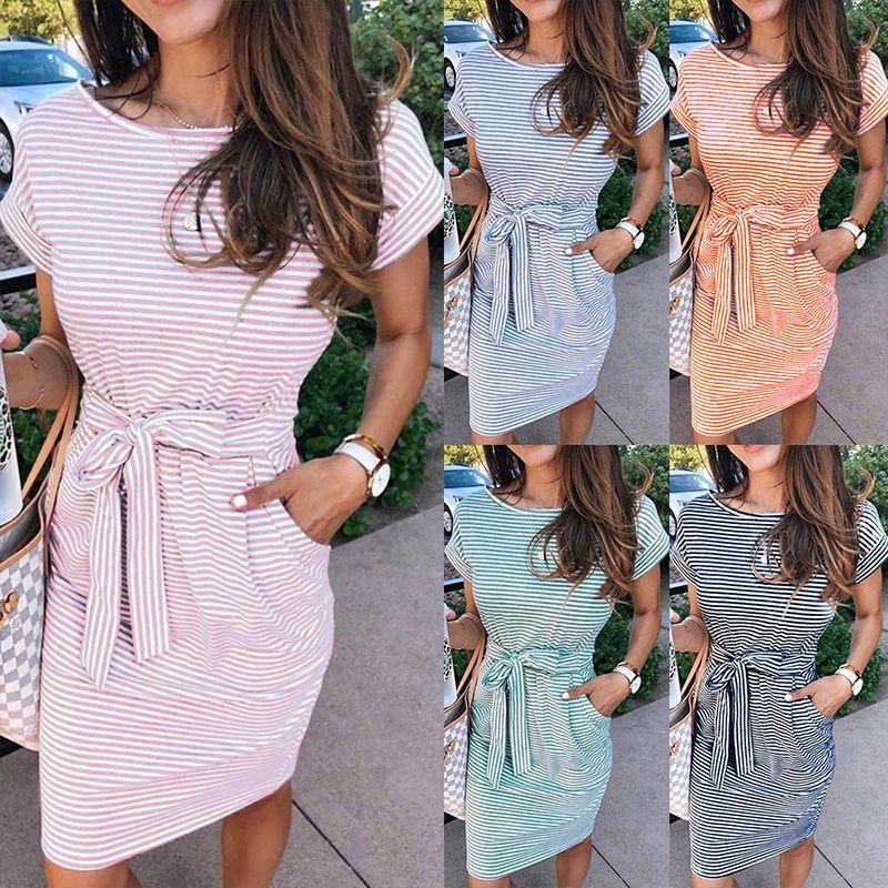 Summer casual striped ladies dress elegant T-shirt round neck short sleeve waist pocket black blue pink color dress
